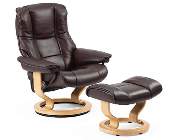 Stressless Kensington leather recliner and ottoman