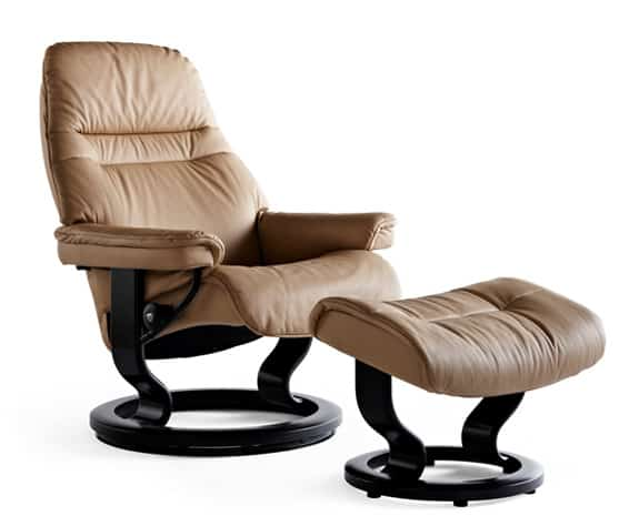 Stressless Sunrise (S) leather recliner and ottoman